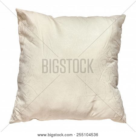 Top View Of Used Creamy Colour Soft Pillow Isolated On White Background