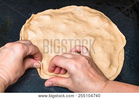 Cooking Of Pie - Fastening Of Edges Of The Raw Filled Pie