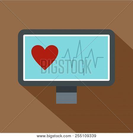 Heartbeat Monitoring Icon. Flat Illustration Of Heartbeat Monitoring Icon For Web Isolated On Coffee