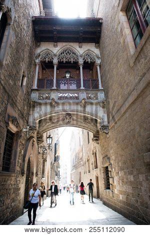 Gothic Quarter, Barcelona; Spain. Royal Square, Barcelona, Spain. 25 of April 2018.