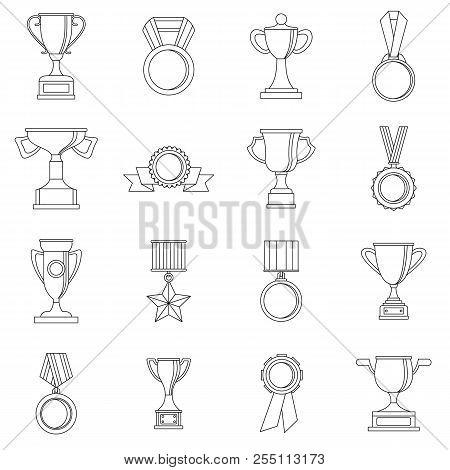 Trophy Icons Set. Outline Illustration Of 16 Trophy Icons For Web