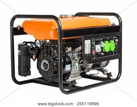 Electric Ac Generator Alternator, Isolated On White. Portable Benzin Generator. White Background.