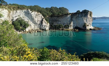 Beautiful Coastline Of Coromandel Peninsula With Dramatic Cliffs And Turquoise Water, New Zealand