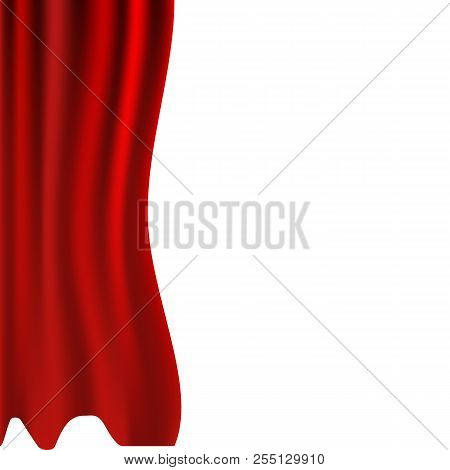 Vector Illustration. Red Curtains. Scenes On White Background