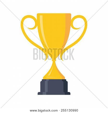 Best Champion Cup Winner Trophy Award And Victory Design Element. Flat Icon Vector Trophy. Vector Il