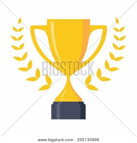 Best Champion Cup Winner Trophy Award And Victory. Flat Icon Vector Trophy. Vector Illustration Eps.
