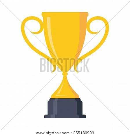 Concept Of Victory Award Championship Achievement Trophy Design Element. Flat Icon Vector Trophy. Ve