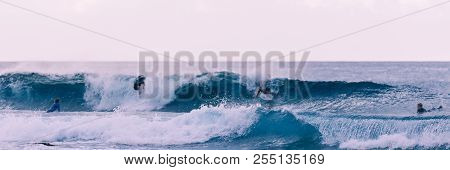 Young Surfers Takes The Waves, Vintage Style Photography.