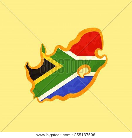 Map Of South Africa Colored With South African Flag And Marked With Golden Line In Grunge Vintage St