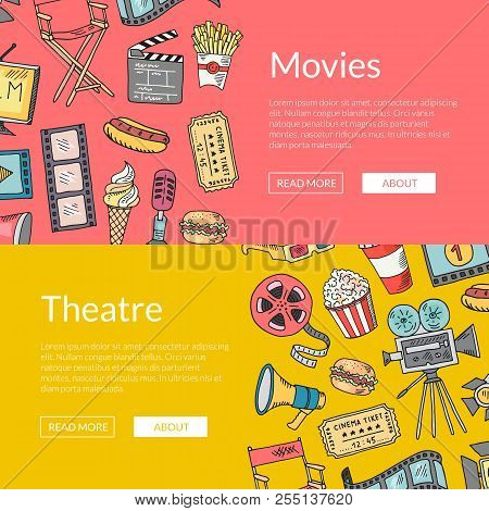 Vector Cinema Doodle Icons Banners Illustration. Cinema Elements Sketch