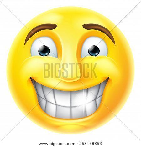 A Smiling Cartoon Emoji Emoticon Face Character
