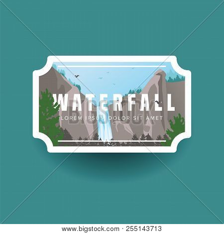 Mountain Waterfall And Green Forest Landscape. Waterfall Cascade In Wild Mountain And Forest Natural