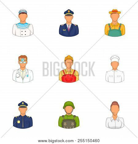 Occupation Icons Set. Cartoon Illustration Of 9 Occupation Icons For Web