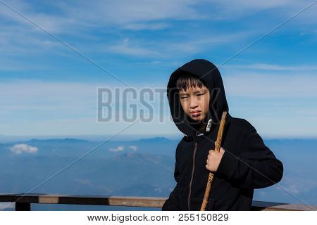 Young Boy Travel In A Nature