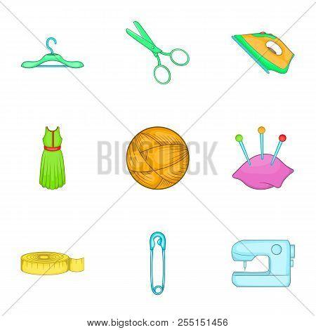 Range Of Tools For Dressmakers Icons Set. Cartoon Illustration Of 9 Range Of Tools For Dressmakers I