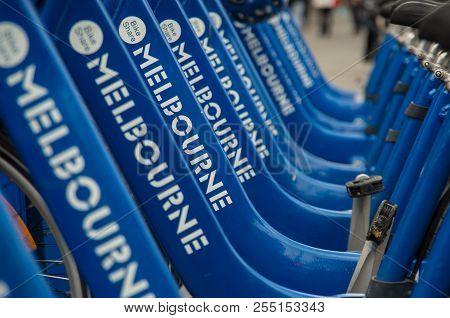 Melbourne, Australia - August 8, 2015: Melbourne Share Bike Is A Public Docked Bicycle Scheme Co-own