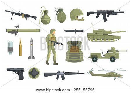 Professional Army Infantry Forces Weapons, Transportation And Soldier Equipment Set Of Realistic Obj