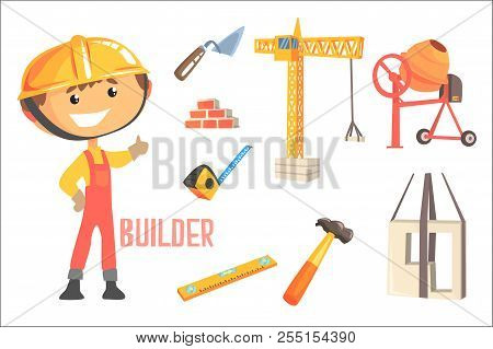 Boy Builder, Kids Future Dream Construction Worker Professional Occupation Illustration With Related