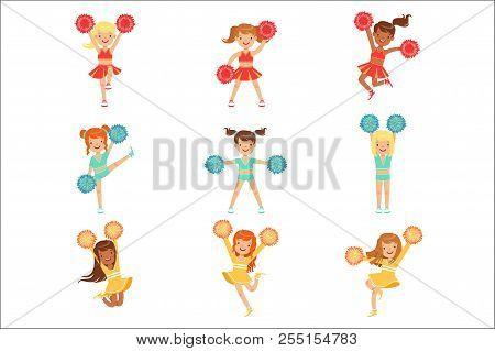 Primary School Little Girls In Cheerleaders Uniform Cheering And Cheerleading With Pompoms Set Of Ha