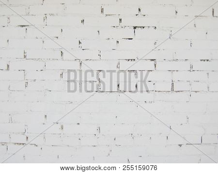 White Brick Wall Pattern Of Grunge Painted Light Grey Stone Background. Stone Material Brick Wall Cl