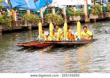Samutsakorn, Thailand - July 27, Four Boat Parade In Boat Traditional Of Candles To Temple At Katumb