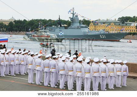 St. Petersburg, Russia - July 26, 2018: Russian Navy Officers In White Formal Uniform At Navy Parade