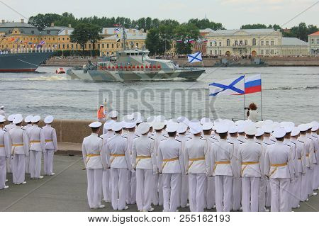 St. Petersburg, Russia - July 26, 2018: Navy Officers In White Formal Uniform At Navy Parade Rehears