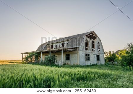 Abandoned Building At Sunset Summer, Mystical Effect