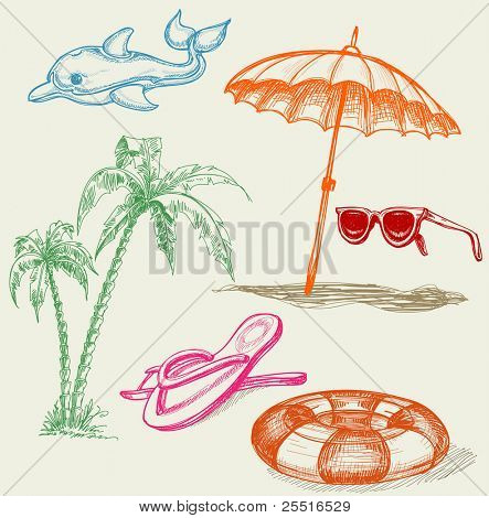 Summer beach holiday items: inflatable dolphin, life buoy, umbrella, sunglasses, palm trees and slippers poster