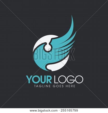 Abstract Logo Wings, Industrial And Business Vector Logo, Technology And Security Logo, Software Log