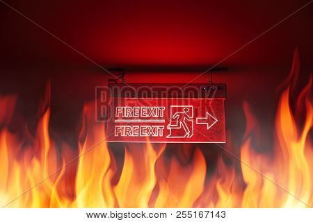 Building Fire And Fire Exit Sign Emergency Escape Way