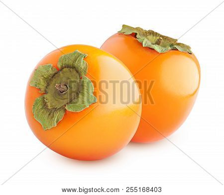 Ripe Juicy Persimmon, Clipping Path, Isolated On White Background, Full Of Depth Of Field
