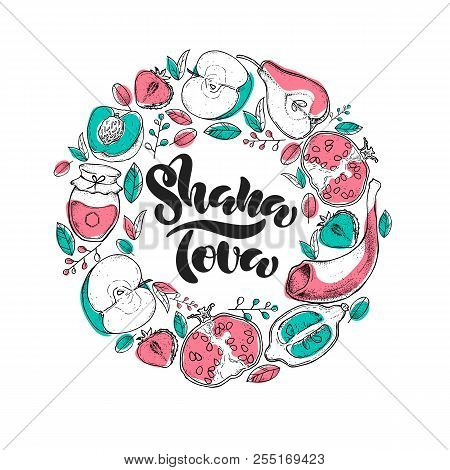 Rosh Hashanah Jewish New Year Holiday. Shana Tova Lettering On White Background With Fruits. Vector