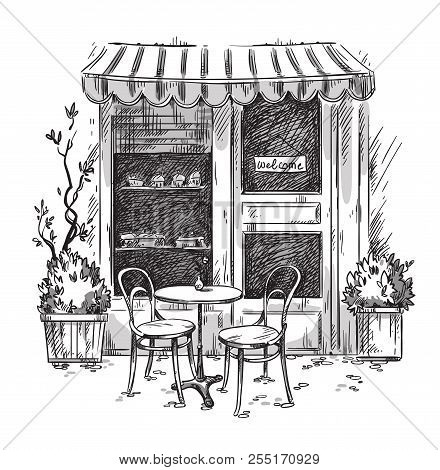 Little Cosy Cafe. Vector Sketch, Hand Drawn