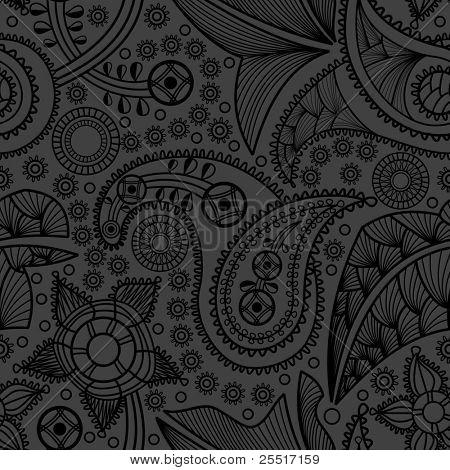 Paisley black seamless pattern