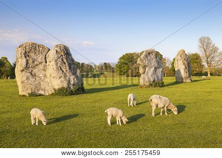 Part Of The Stone Circle At Avebury Great Henge, A Unesco World Heritage Site Dating Back 5000 Years