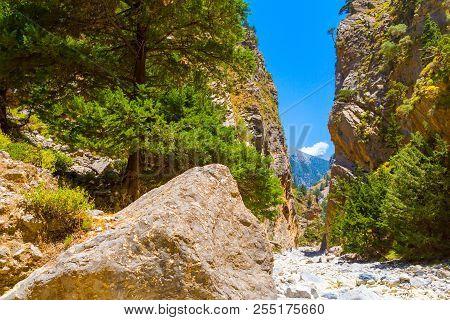 Passage Of Famous Samaria Gorge, Crete, Greece