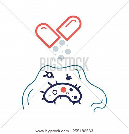 Bacterium resistant to antibiotic under biofilm. Flat vector icon. Medical illustration poster