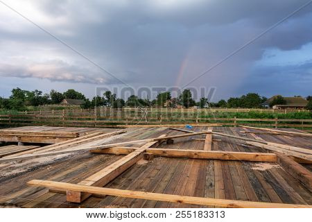 Stages Of Construction Of A Timber Frame House With A Triangular Type A With Rectangular Addition