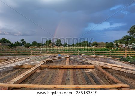 Template Of The Frame Of The House. Stages Of Construction Of A Wooden Frame House With A Triangular