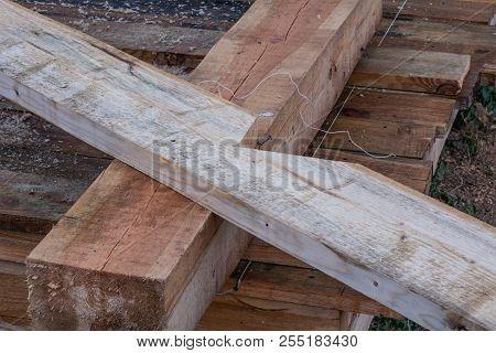 Rough Wooden Floor Triangular A-frame House, Construction Detail