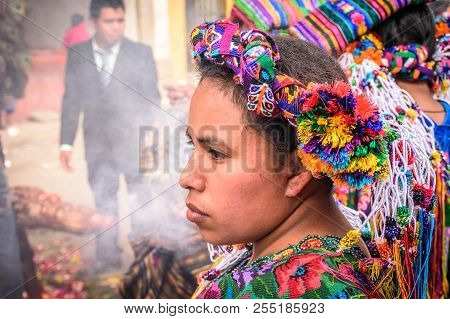 Parramos, Guatemala - December 29, 2016: Local Indigenous Woman Dressed In Ceremonial Headdress & Co