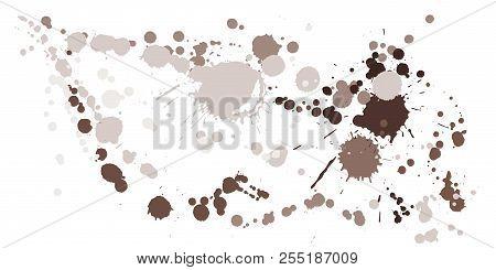 Watercolor Paint Stains Grunge Background Vector. Trendy Ink Splatter, Spray Blots, Dirty Spot Eleme