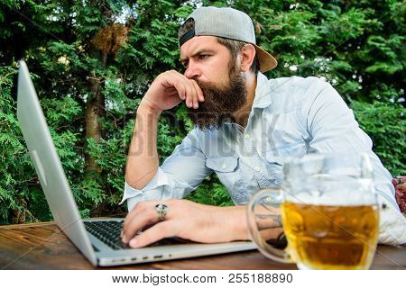 Betting And Real Money Gaming. Brutal Man Leisure With Beer And Sport Game. Football Fan Bearded Hip