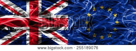 United Kingdom Vs European Union Smoke Flags Placed Side By Side. Thick Colored Silky Smoke Flags Of