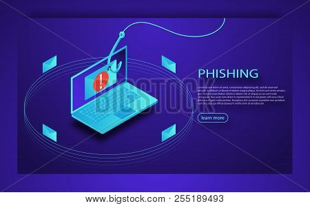 Login Into Account In Email Envelope And Fishing Hook. Phishing Scam, Hacker Attack And Web Security