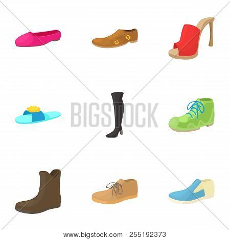 Footgear Icons Set. Cartoon Illustration Of 9 Footgear Icons For Web