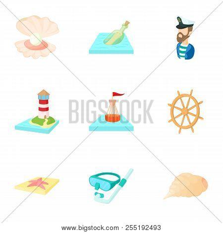 Nautical Theme Icons Set. Cartoon Illustration Of 9 Nautical Theme Icons For Web