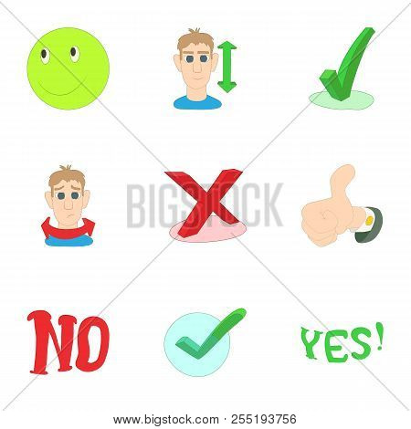 Choice Failure Icons Set. Cartoon Illustration Of 9 Choice Failure Icons For Web