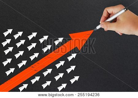 Hand Drawing Arrows On Light Background. Leadership And Growth Concept